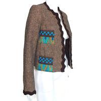 ANNA SUI Brown Tweed Turquoise Aqua Blue Embroidered Blazer Jacket Sz M /873