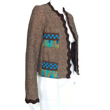 ANNA SUI Brown Tweed Turquoise Aqua Blue Embroidered Pockets Blazer Jacket Sz M