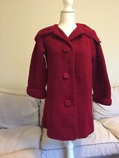 VINTAGE WOMENS Red LG Collar KNIT Handmade WOOL Blend SWEATER BUTTON-UP