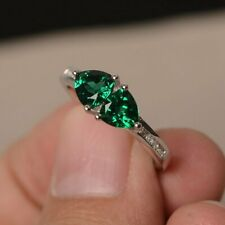 2ct Trillion Cut Green Emerald Two Stone Engagement Ring 14ct White Gold Over