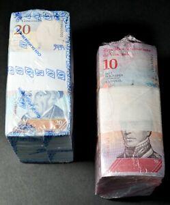 2018 Venezuela $10 & $20 Bolivares UNC 2 Bricks 2000 Pcs Total New SKU320