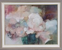 """FLO BARNETT CALIFORNIA 42"""" ABSTRACT MODERNIST FLORAL OIL PAINTING EXPRESSIONISM"""