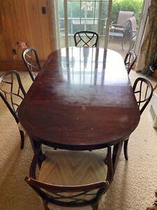 Kindel Furniture Federal Style Banded Mahogany Extension Dining Set