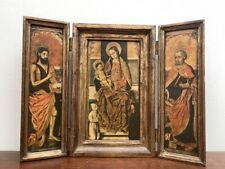 More details for vintage religious icon print on 3 boards folding wooden gilt frames panels