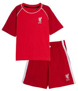 Kids Liverpool FC Short Pyjamas Boys Premiership Football Kit Shorts T-shirt