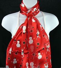 Reindeer Snowman Womens Scarf Winter Snow Holiday Xmas Christmas Red Scarves New