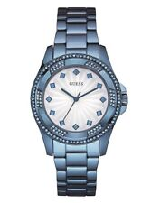 New Guess Ladies U0702L1 Round Dial Crystals Stainless Sky Blue Band Watch