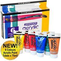 New! DALER ROWNEY 6 Metallic Colours x 75ml Acrylic Paint Tubes Set Painting