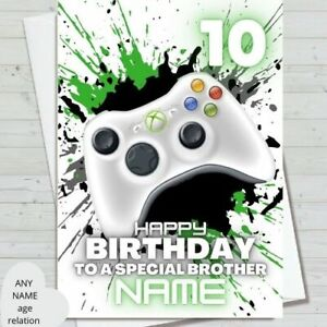 xbox gaming birthday card - personalised name and age