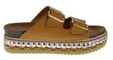 Bamboo Fab 16S Womens Dual Buckle Open Toe Studded Platform Sandals Natural