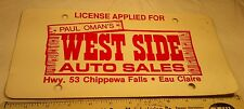 Advertising Dealership Cardboard License Plate Auto Chippewa Falls Eau Claire WI