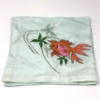 Vintage Silk Handkerchief w/ Hand Embroidered GOLDFISH Tropical Fish STAINED