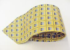 The Collection Yellow / Gold With A Blue Square Design Silk Mens Tie