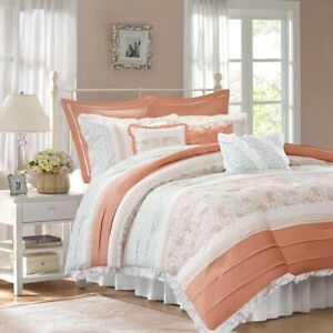 Luxury 9pc Coral Cottage Chic Lace Comforter Set AND Decorative Pillows