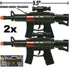 SET OF 2 - MACHINE GUN TOY POLICE ASSAULT PISTOL RIFLE TOY INCLUDES SOUND For Sale