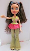 BRATZ DOLL LONG BROWN HAIR BRIGHT PINK LIPS GREEN JEANS