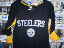 NFL STEELERS GIII LADIES L LG LARGE HANDS HIGH 3/4 SLEEVE SHIRT/T-SHIRT NEW NWT
