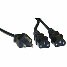 6ft  Computer / Monitor Power Y Cord, Black, NEMA 5-15P to Dual C13 10W1-01206Y