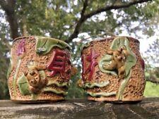 Vintage Raku Pottery Chinese Netsuke Frogs Lily Pads Saki Cups Vase Unique ��J8