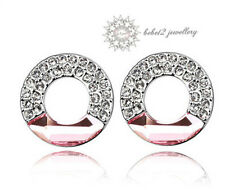 Pink Crystal Ring/Circle Stud Earring/White gold/RGE240S