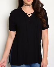 Size 1XL 1X Shirt Top BLACK Lace Up Chest V Neck SHORT SLEEVES Womens Plus NEW
