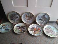 "9"" Water Birds Of The World Collector Plates Basil Ede Franklin Porcelain Set 7"