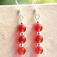 Red Glass Earrings Sterling Silver Hooks Drop Dangle Style Brand New LB142