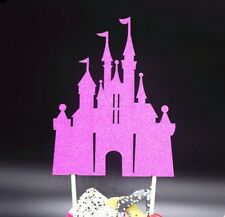 princess disney cinderella fairy castle cake topper  wedding pink glitter x1