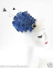 bleu marine noir Fascinator à plumes coiffe vintage pince cheveux années 1920