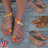 US Summer Women Boho Flower Sandals Holiday Beach Flip Flop Flat Shoes Size 6-9