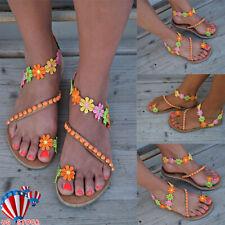 US Summer Women Boho Flower Sandals Holiday Beach Flip Flop Flat Shoes Size 6-9