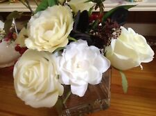 Bloom White Rose Silk Flower Arrangement In Glass Cube Floral Bouquet