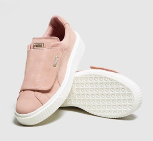 Puma Basket Platform Sneaker Suede Rope Creeper Cameo Pink Big Strap Size 9