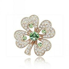 & Austrian Crystal Shamrock Brooch . 18K Rose Gold Plated Green Genuine Cz