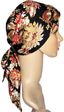 HEAD SCARF LIGHTLY PADDED FOR HAIR LOSS, CANCER, ALOPECIA. Black-tan-wine-red