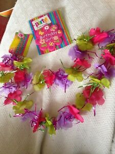 Birthday Girl 8.5cm Rubber Badge & Floral Hawaiian Lei. Bnwt