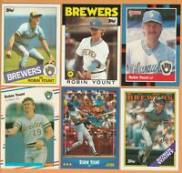 Robin Yount, Milwaukee Brewers, HOF, 10 card LOT, all 29+yrs old, NM or better