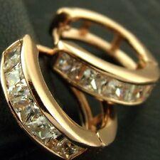 EARRINGS HUGGIE HOOP REAL 18K ROSE G/F GOLD GENUINE DIAMOND SIMULATED DESIGN