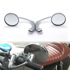Motorcycle Chrome Retro L-bar Round Rearview Side Mirror GN125 Cafe Racer Custom