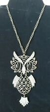 Large Owl Pendant Necklace Bronze Bling Crystal