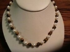 White Freshwater Cultured Pearl/Tiger Eye Necklace- 18 inches
