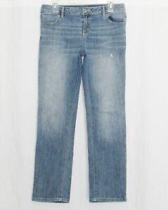 Simply Vera Wang Jeans Womens 8 Straight Leg Denim Pants Medium Roll Cut Bottoms