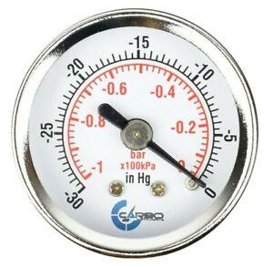 """1-1/2"""" Vacuum Gauge-Chrome Plate Steel Case, 1/8""""NPT, Back Mnt. -30 inHg/0 Psi"""