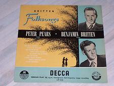 "Benjamin BRITTEN - Folksongs, Peter PEARS / Rare 10"" LP, ffrr, DECCA, LW 5122 !!"