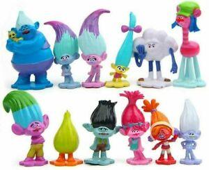 12pcs/Set Movie Trolls Poppy Branch Action Figures PVC Toys Doll Cake Topper Toy