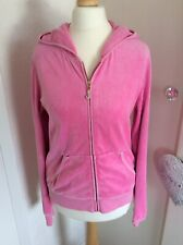 Vintage Juicy Couture Pink Velour Hoodie Tracksuit Zip up Jacket Top Size L