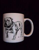 BULLDOG Bull Dog MUG Black White Vtg Cindy Farmer Artist 1985 ROSALINDE