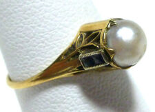 OSTBY BARTON NOUVEAU DECO 10K YELLOW GOLD PEARL BLUE SAPPHIRE LEAF ANTIQUE RING