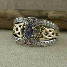 Sterling Silver & 10K Celtic Knot Ring w Iolite & White Topaz Keith Jack