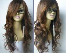 Charmant brun longs bouclés perruques synthétiqueswig+hairnet